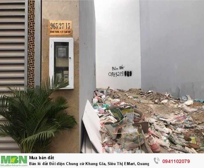 Bán lô đất Đối diện Chung cứ Khang Gia, Siêu Thị EMart, Quang Trung, P14, Gò Vấp