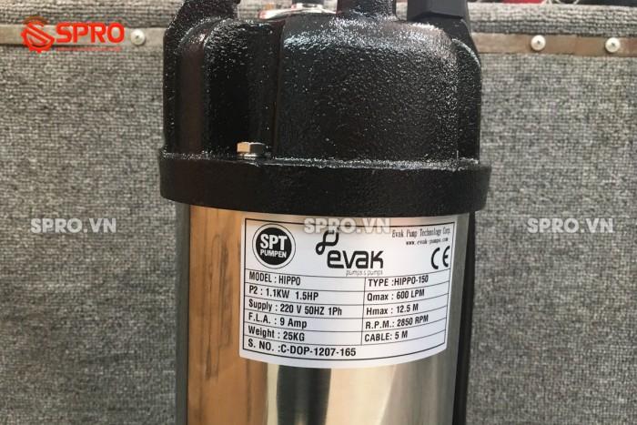 Máy bơm chìm nước thải, bơm chìm hút bùn Evak HIPPO-50 - 2 inch (370W)3