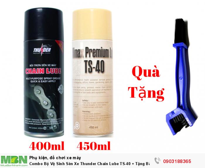 Combo Bộ Vệ Sinh Sên Xe Thunder Chain Lube TS-40 + Tặng Bàn Chải - MSN388395 0