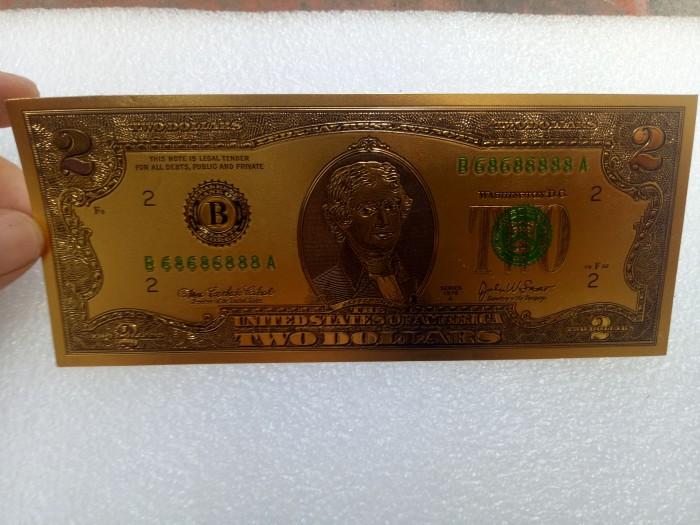 Tiền 2 usd mạ vàng plastic, series 686868884