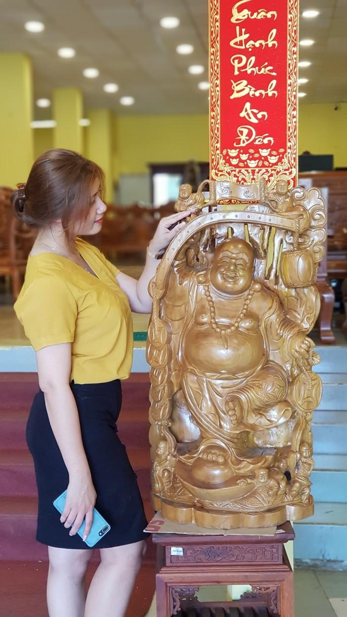 Tượng Phật Di Lặc gậy như ý cao 1m021