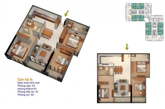 Bán nhanh căn hộ 3 ngủ diện tích 104m2 tòa R4