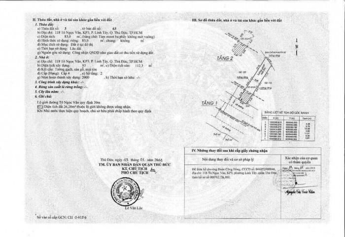 Bán nhà mặt tiền 118 Tô Ngọc Vân, KP3, P.Linh Tây, Q. Thủ Đức