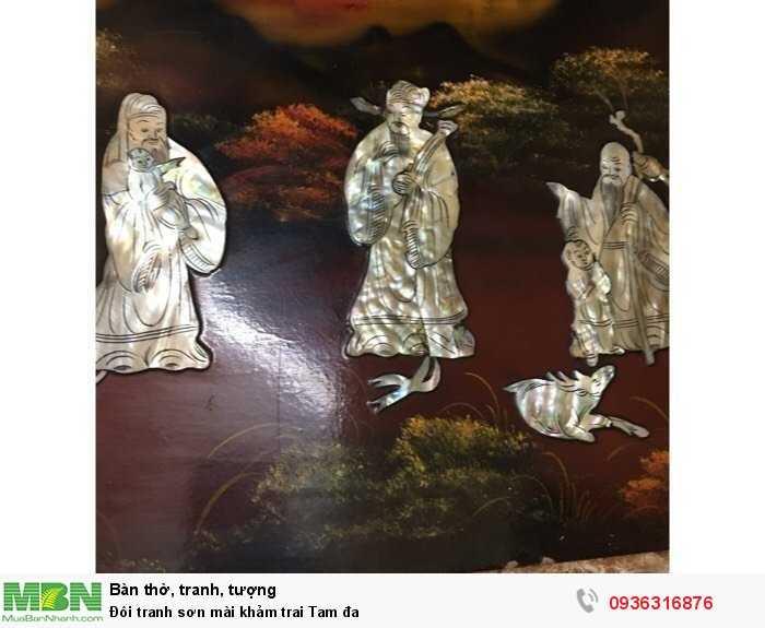 Đôi tranh sơn mài khảm trai Tam đa3