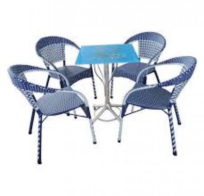 Bàn ghế cafe mây nhựa giá rẻ tại xưởng sản xuất HGH 10230
