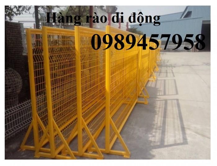 Hàng rào di động sơn phản quang, hàng rào inox304, Hàng rào sơn mầu xanh9