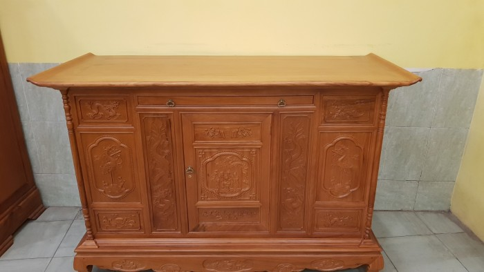 Tủ thờ tam đa lắp ráp gỗ gõ đỏ6