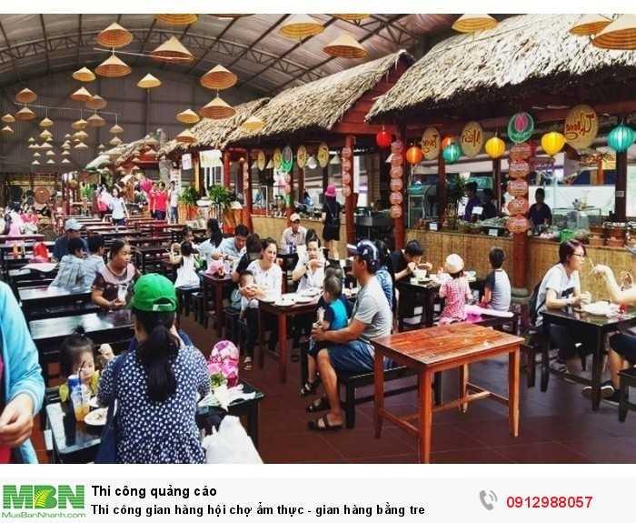 Thi công khu ẩm thực với nhiều gian hàng tre trúc