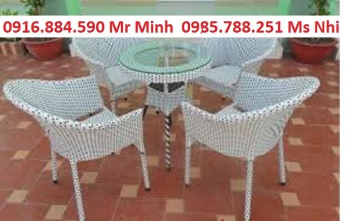 Bàn ghế cafe mây nhựa giá rẻ tại xưởng sản xuất HGH 10440