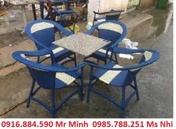 Bàn ghế cafe mây nhựa giá rẻ tại xưởng sản xuất HGH 10500