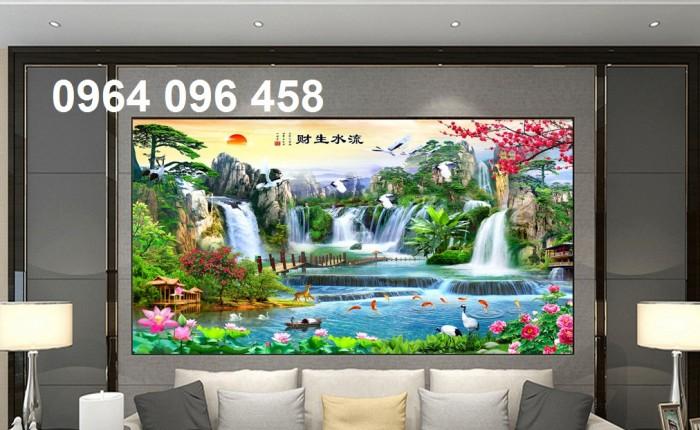 Tranh gạch 3d phong cảnh thác nước cành đào QY7617
