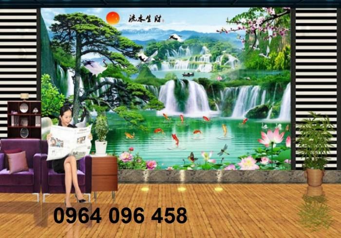 Tranh gạch 3d phong cảnh thác nước cành đào QY7613