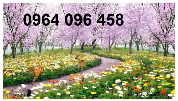 Tranh gạch 3d phong cảnh thác nước cành đào QY7614