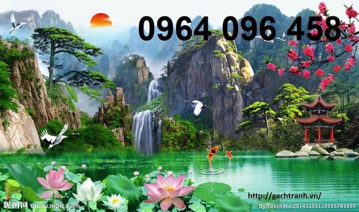 Tranh gạch 3d phong cảnh thác nước cành đào QY7616