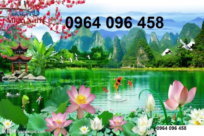 Tranh gạch 3d phong cảnh thác nước cành đào QY7612