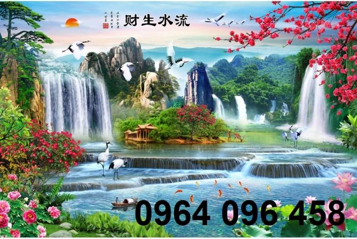 Tranh gạch 3d phong cảnh thác nước cành đào QY7611