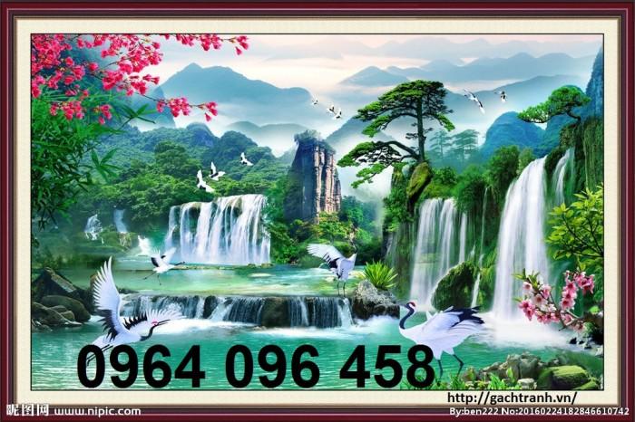 Tranh gạch 3d phong cảnh thác nước cành đào QY7615