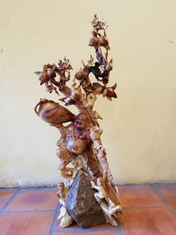 Tượng Di Lặc oải bao tiền Gỗ Hương Việt Nam1