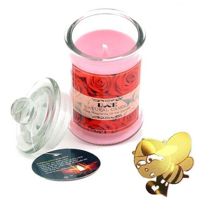 Nến thơm hoa hồng tặng miếng dán chắn sóng - Con Ong (Jar Candles Rose)4
