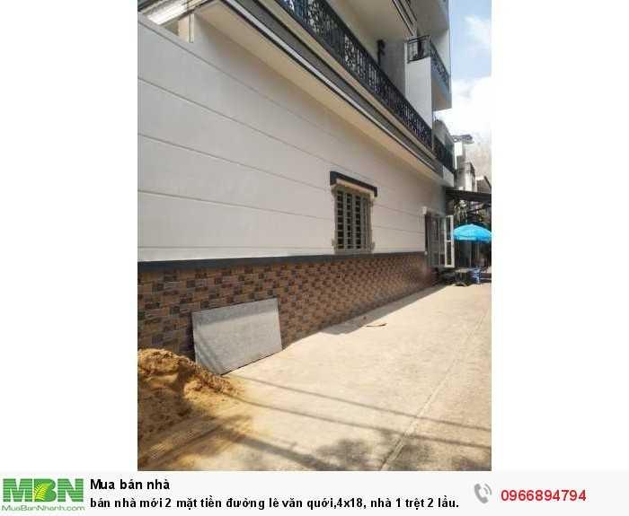 Bán nhà mới 2 mặt tiền đường lê văn quới,4x18, nhà 1 trệt 2 lầu sân thượng