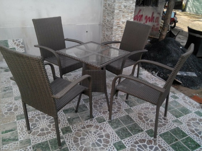 bàn ghế cafe mây nhựa giá rẻ tại xưởng sản xuất HGH 10780