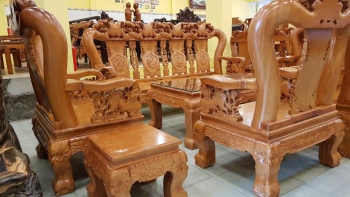 Bộ bàn ghế tay 14 chạm đào mặt nguyên tấm15