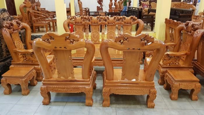 Bộ bàn ghế tay 14 chạm đào mặt nguyên tấm14