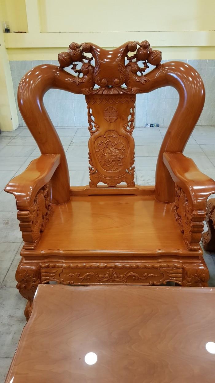 Bộ bàn ghế tay 14 chạm đào mặt nguyên tấm0