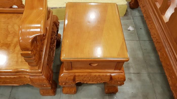 Bộ bàn ghế tay 14 chạm đào mặt nguyên tấm10