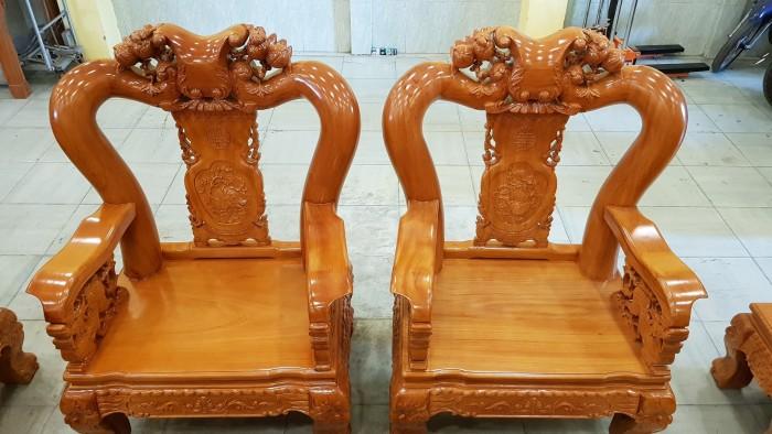 Bộ bàn ghế tay 14 chạm đào mặt nguyên tấm3