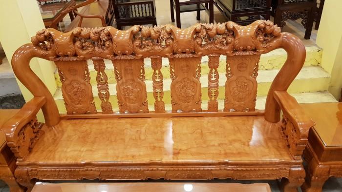 Bộ bàn ghế tay 14 chạm đào mặt nguyên tấm5