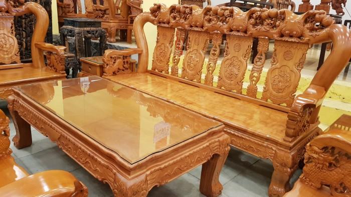 Bộ bàn ghế tay 14 chạm đào mặt nguyên tấm8