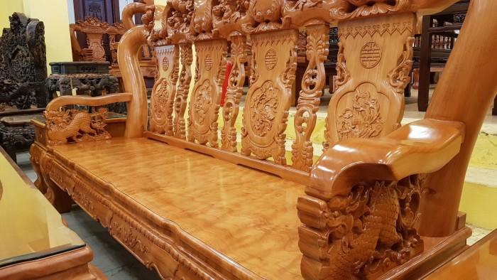 Bộ bàn ghế tay 14 chạm đào mặt nguyên tấm7