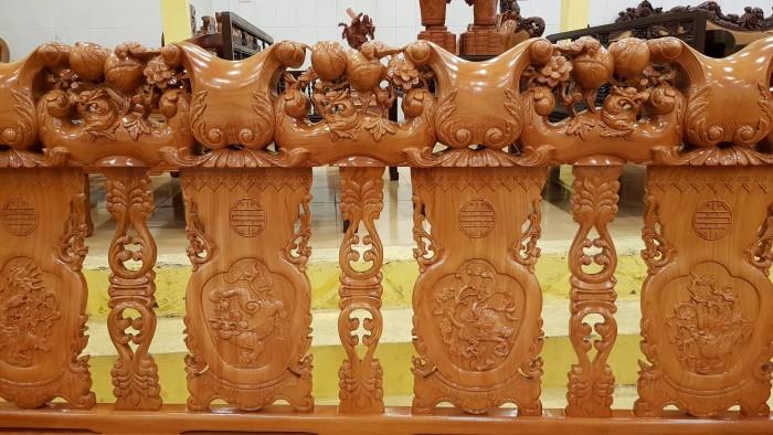 Bộ bàn ghế tay 14 chạm đào mặt nguyên tấm4