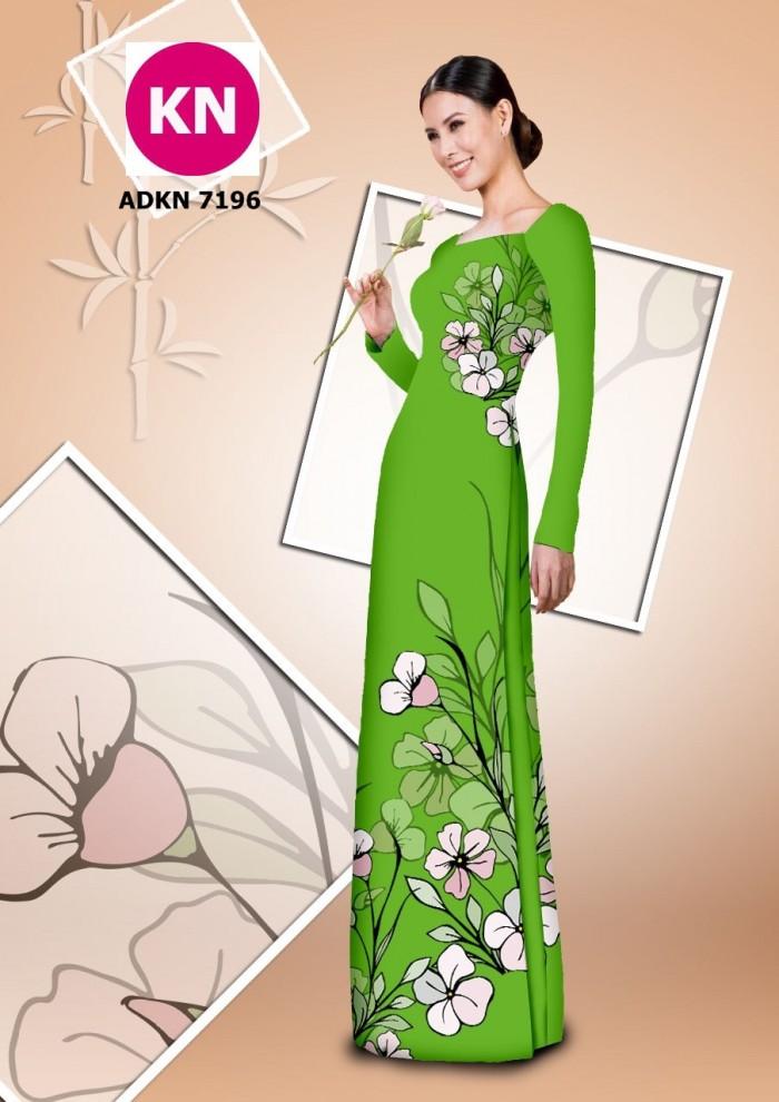 Vải bộ áo dài in đẹp KN7196 (vải áo và vải quần )0