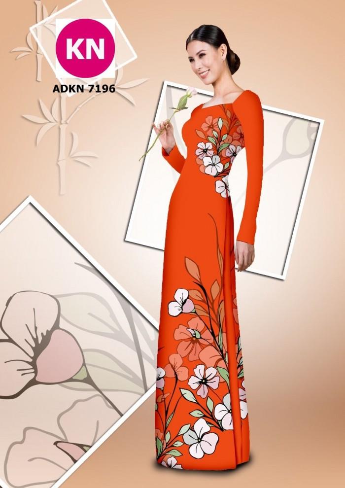 Vải bộ áo dài in đẹp KN7196 (vải áo và vải quần )1