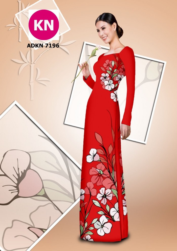 Vải bộ áo dài in đẹp KN7196 (vải áo và vải quần )6
