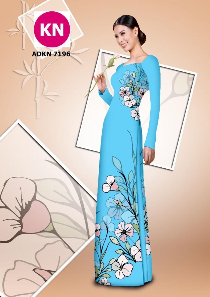 Vải bộ áo dài in đẹp KN7196 (vải áo và vải quần )7