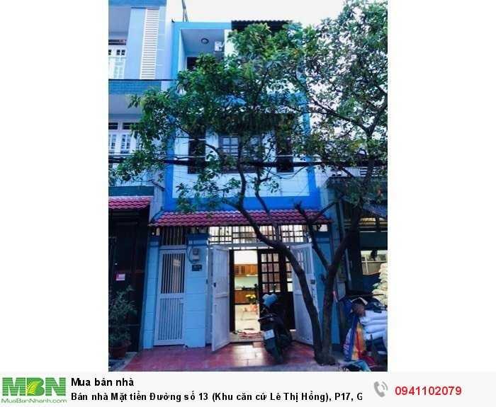 Bán nhà Mặt tiền Đường số 13 (Khu căn cứ Lê Thị Hồng), P17, Gò Vấp
