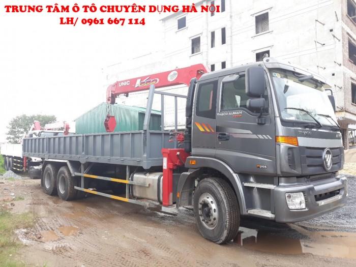 Xe tải 3 chân Thaco Auman C1400B/P255 gắn cẩu 3 tấn UNIC model URV343 | Giá ưu đãi cho khách hàng