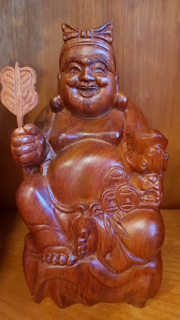 Cặp thần tài ông địa gỗ hương cao 30cm1