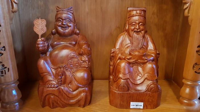 Cặp thần tài ông địa gỗ hương cao 30cm3