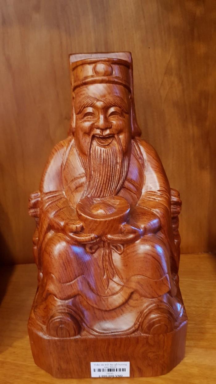 Cặp thần tài ông địa gỗ hương cao 30cm0
