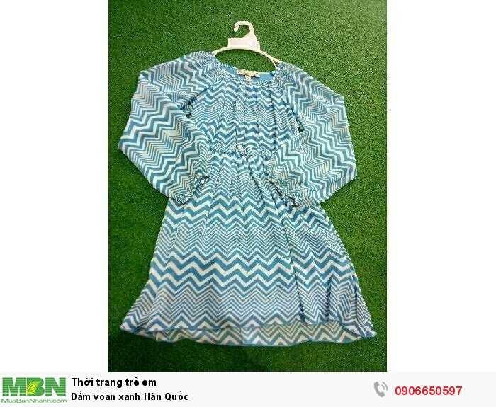 Đầm voan xanh Hàn Quốc0