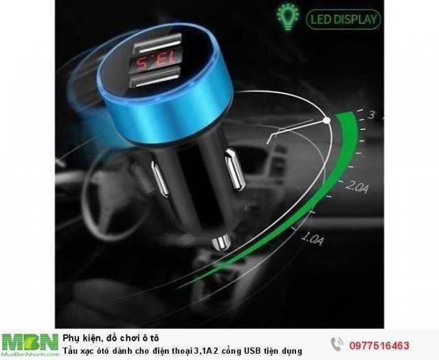 Tẩu xạc ôtô dành cho điện thoại 3,1A 2 cổng USB tiện dụng 0