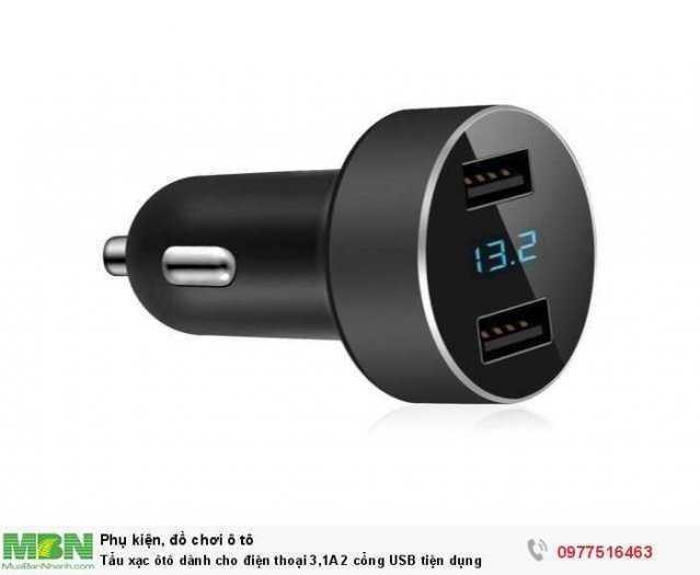 Tẩu xạc ôtô dành cho điện thoại 3,1A 2 cổng USB tiện dụng 2