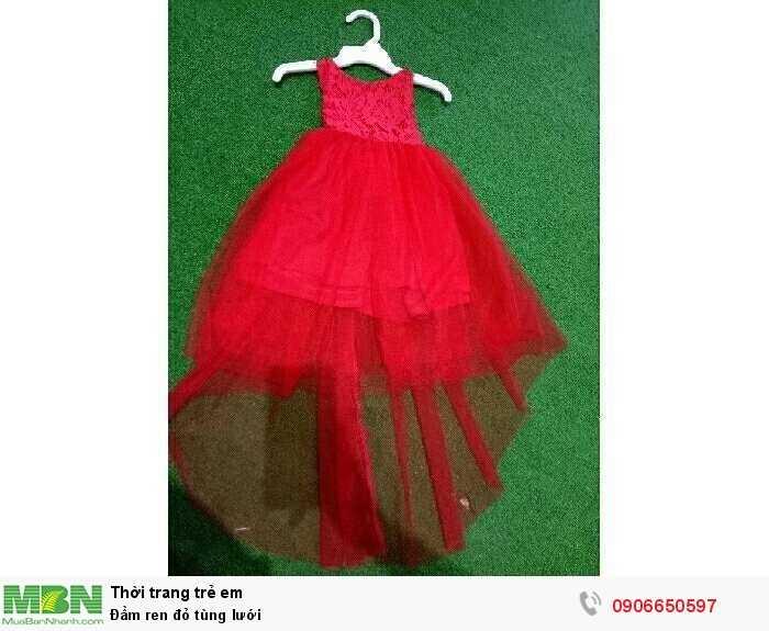 Đầm ren đỏ tùng lưới0