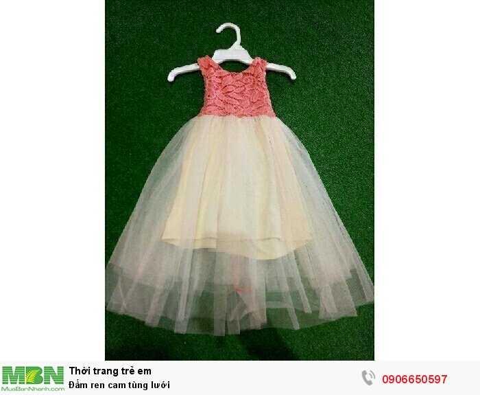 Đầm ren cam tùng lưới0