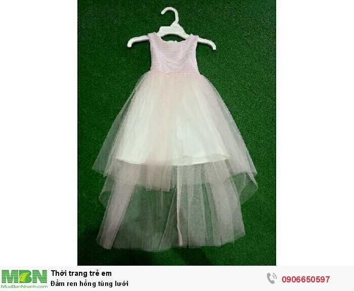Đầm ren hồng tùng lưới0