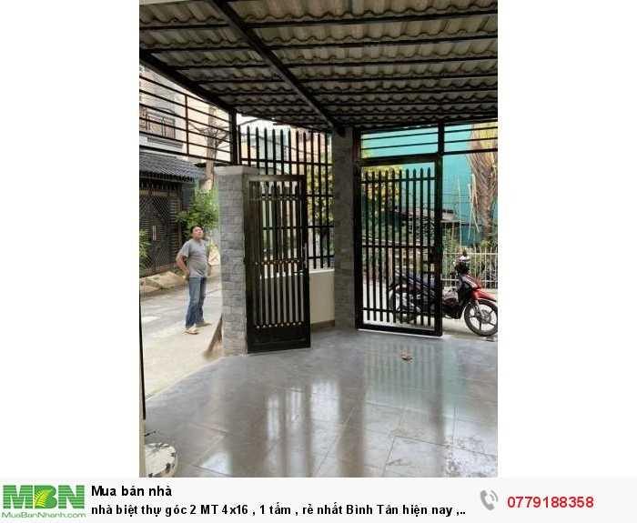Nhà biệt thự góc 2 MT 4x16 , 1 tấm , rẻ nhất Bình Tân hiện nay , 4ty25